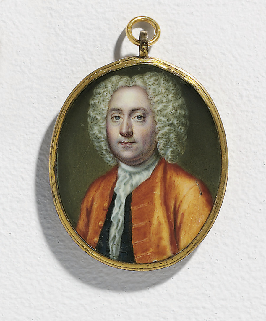A young gentleman, in orange coat, black waistcoat, white shirt with frilled cravat, powdered wig