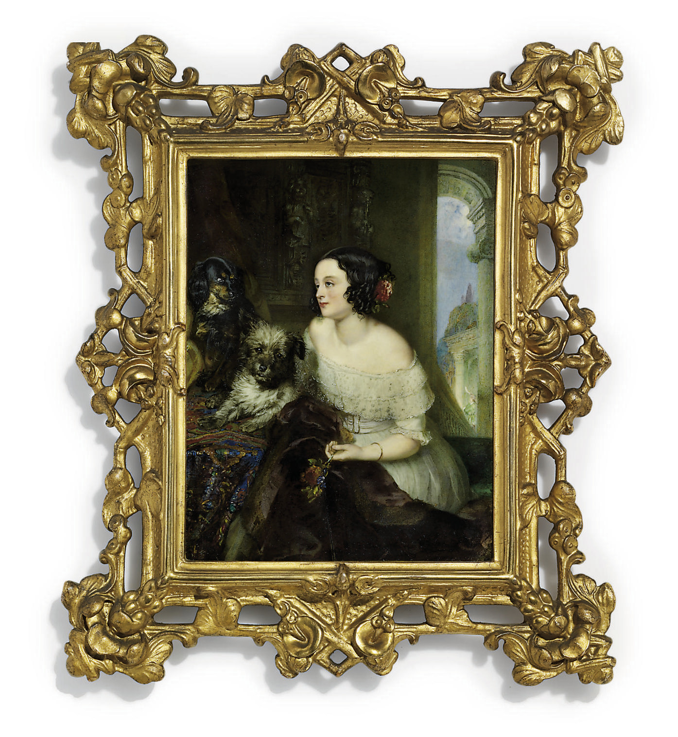 A lady, in white décolleté dress trimmed with white lace at neckline and cuff, gold buckled sash, fur-lined cloak across her lap, gold bracelet on her left arm, pink flowers adorning her dark upswept hair, holding a nosegay of flowers in her left hand, seated on a green ledge next to a terrier and dachshund on a tapestry covered table; curtain and classicizing portico background