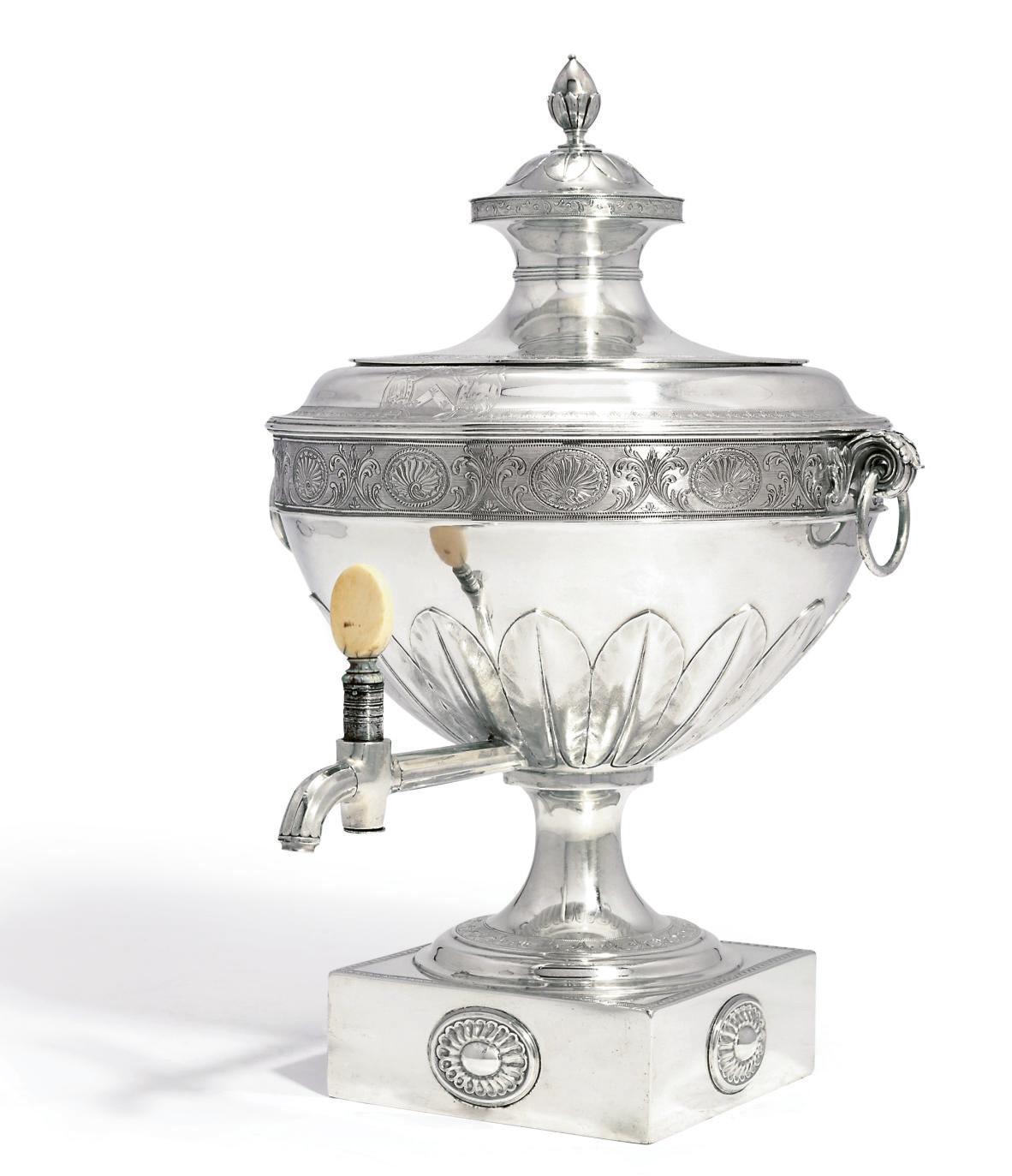 A GEORGE III SILVER TEA-URN