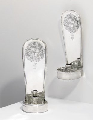 A PAIR OF GEORGE V SILVER WALL