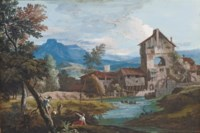 A watermill in an extensive mountainous landscape, with peasants climbing trees in the foreground