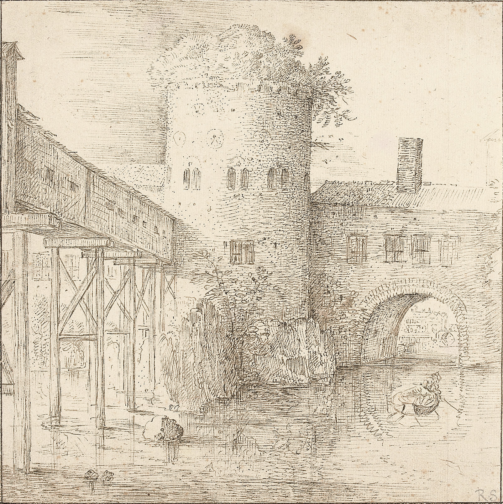 A mill with a fortified bridge, a rowing boat in the foreground