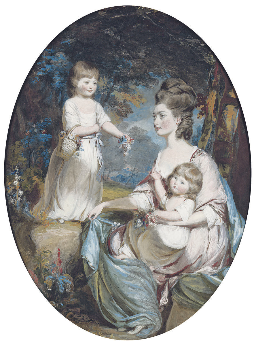 Group portrait of Emma, Countess of Tankerville (1752-1836), and her daughters Caroline (1772-1818) and Anna (1774-1836), small full length-length, in a wooded landscape