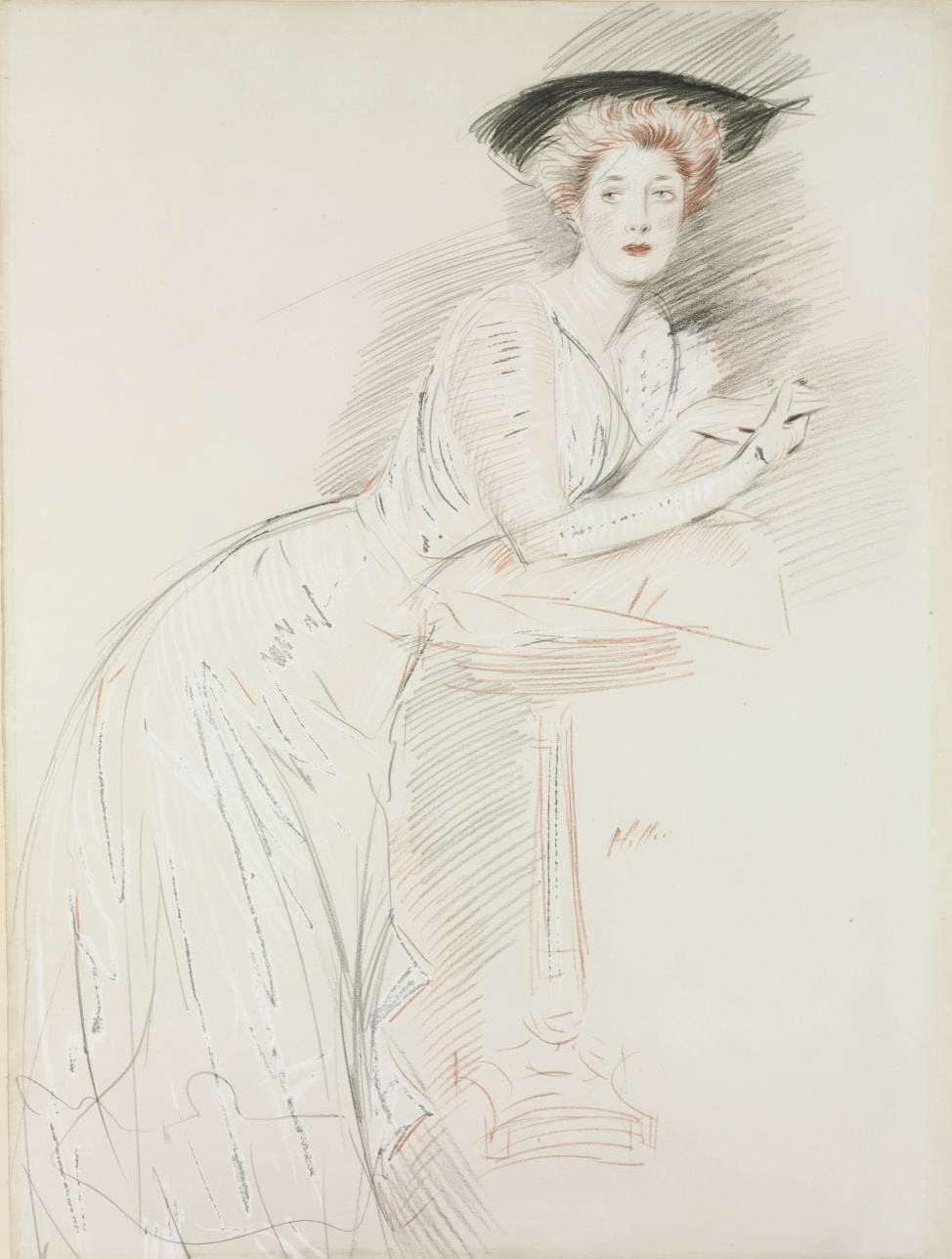 Portrait of Miss Taylor leaning on a guéridon