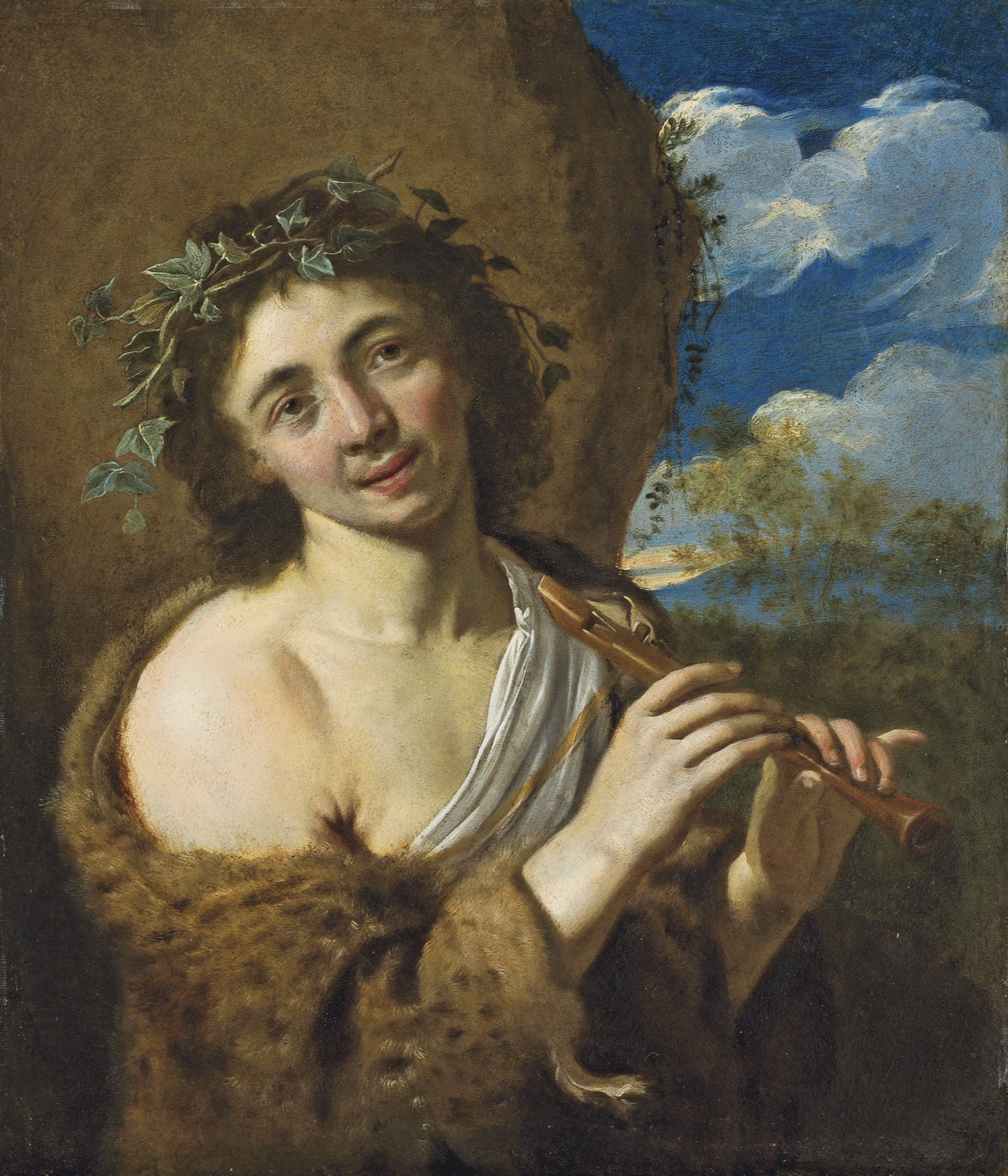 Portrait of a gentleman, said to be the artist Adrian van der Werff, half-length, as Bacchus