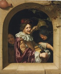 A hurdy-gurdy player with an old woman singing and a mocking youth at a casement