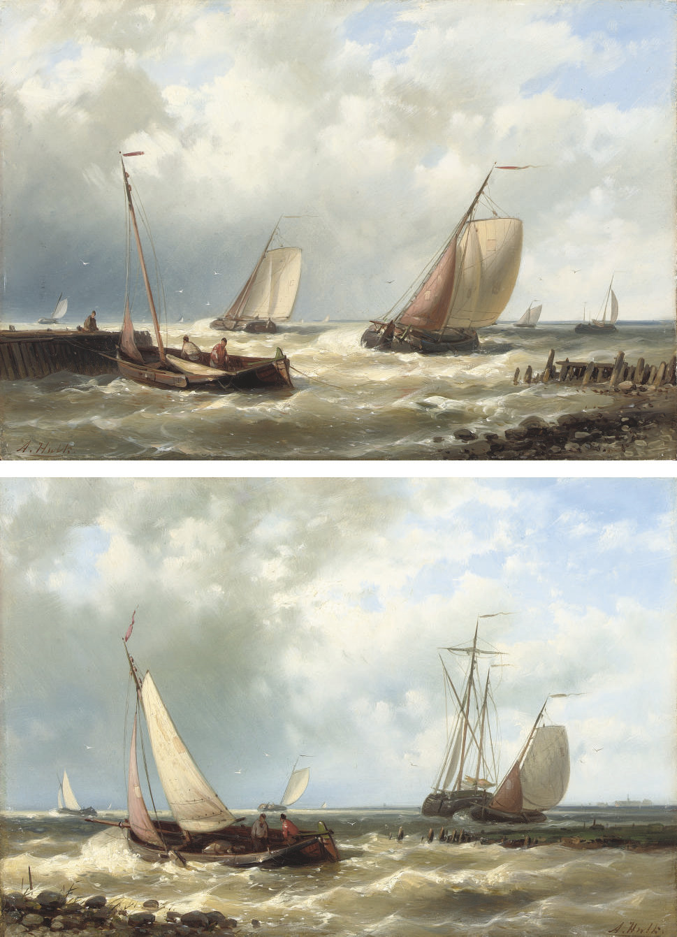 Dutch fishing boats in a harbour entrance; and Off the Scheldt