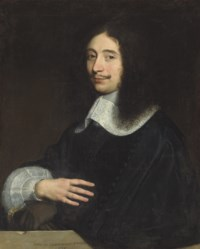 Portrait of a gentleman, traditionally identified as Noël de Bullion (d. 1670), half-length, in black with lace collar and sleve, his gloves in his left hand