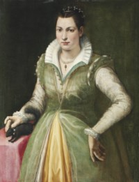 Portrait of a lady, possibly Maddalena Salvetti (1557-1610), three-quarter-length, in a green dress and pearls, standing by a draped table, with a pet squirrel