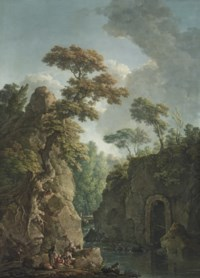 A mountainous river landscape with drovers resting by the bank, a shepherd with a flock of sheep beyond