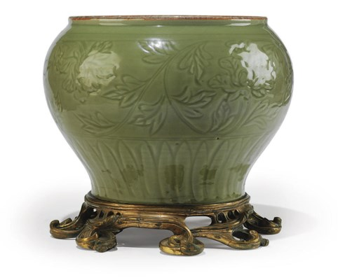 A FRENCH ORMOLU-MOUNTED CARVED