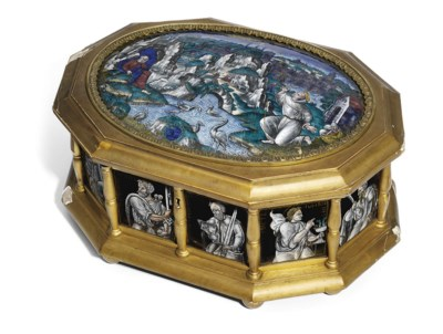 AN OCTAGONAL GILTWOOD AND ENAM
