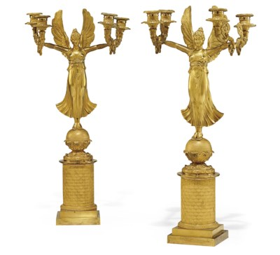 A PAIR OF EMPIRE ORMOLU FOUR-L