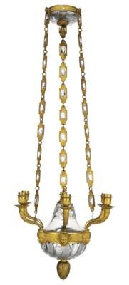 AN EMPIRE ORMOLU AND CUT-GLASS
