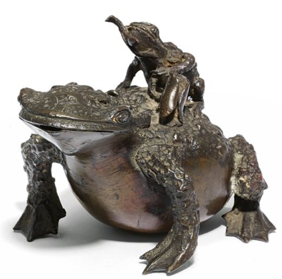 A BRONZE MODEL OF TWO TOADS