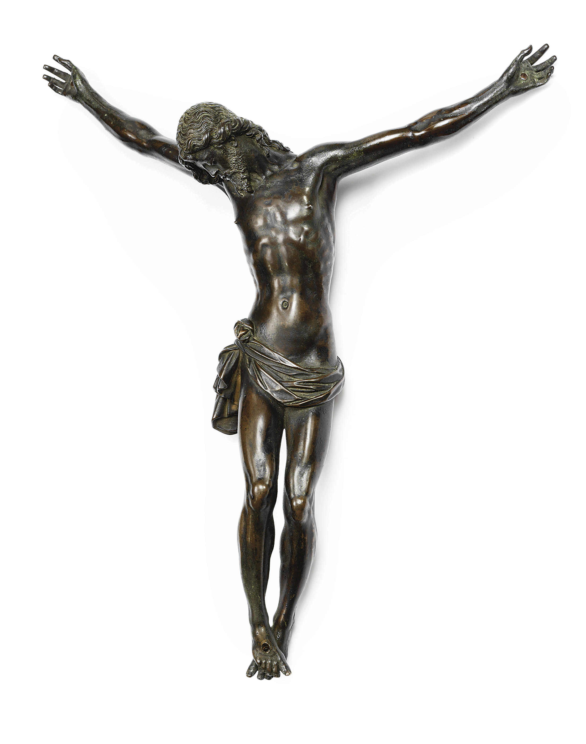 A BRONZE FIGURE OF THE CRUCIFIED CHRIST