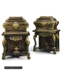 A PAIR OF LOUIS XIV ORMOLU-MOUNTED BOULLE MARQUETRY COFFRES EN TOMBEAU (COFFERS-ON-STANDS)