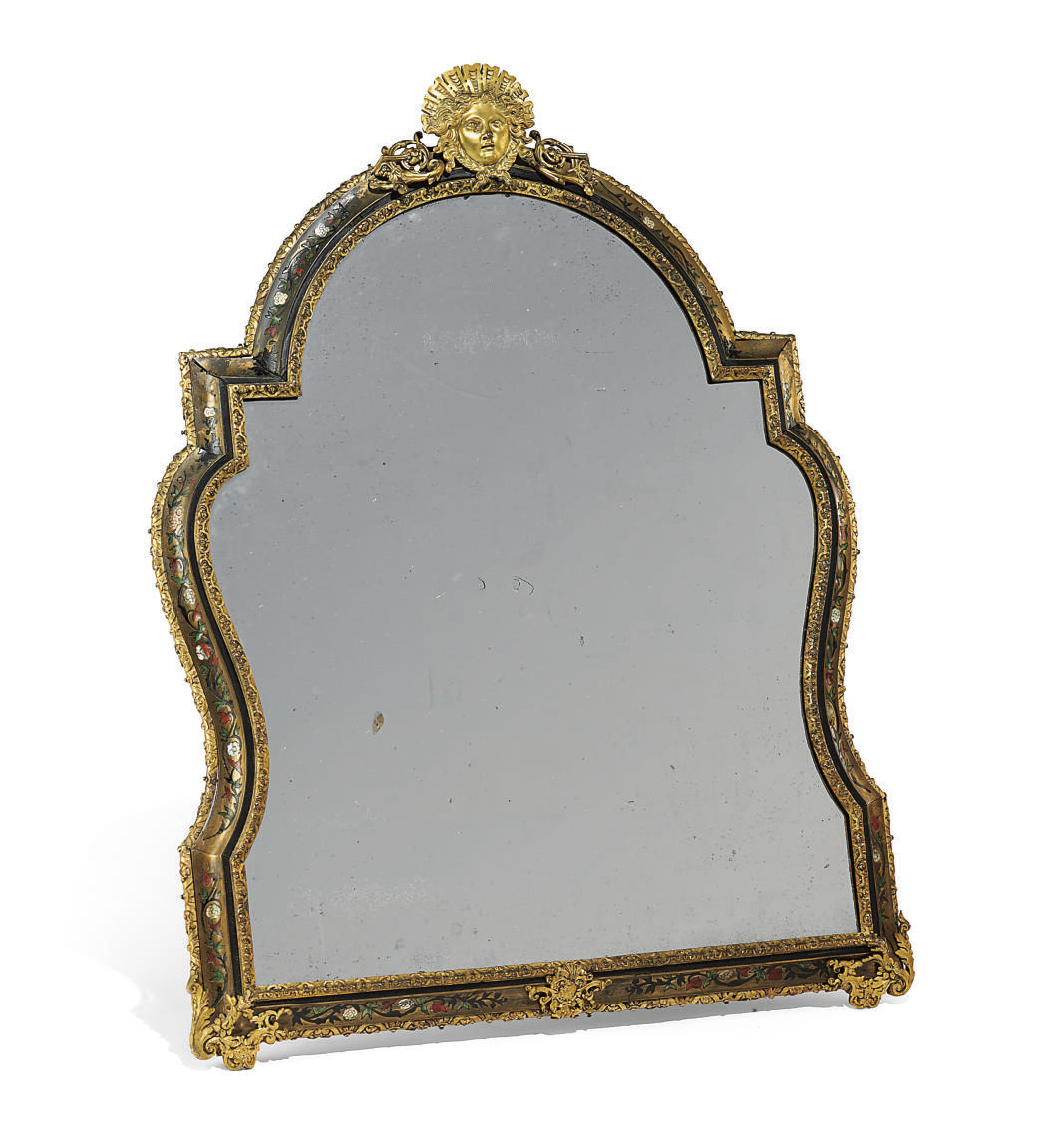 A REGENCE ORMOLU-MOUNTED, TORTOISESHELL, MOTHER-OF-PEARL AND STAINED HORN-INLAID, BOULLE MARQUETRY TABLE MIRROR