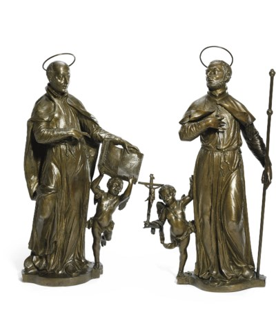 A PAIR OF BRONZE FIGURES OF SS