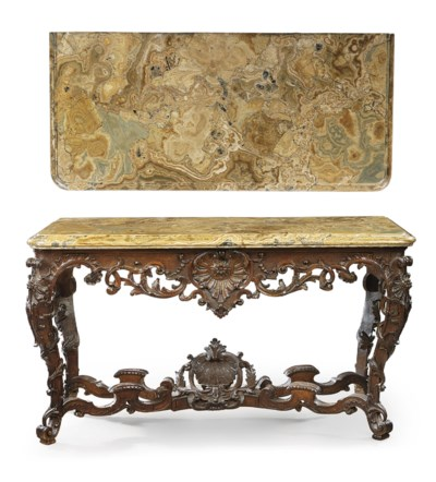 A LOUIS XV CARVED OAK AND ALAB