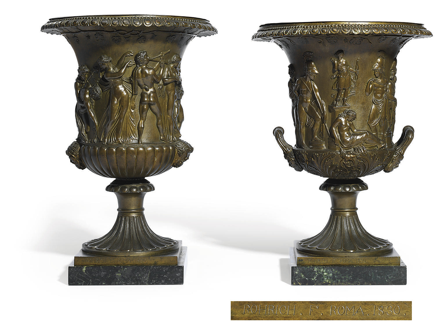 A PAIR OF BRONZE MODELS OF THE