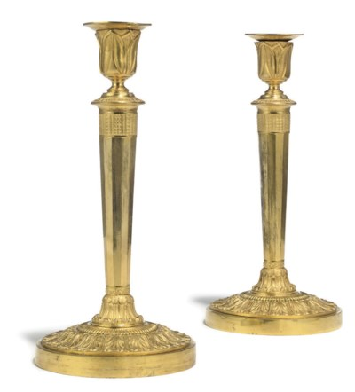 A PAIR OF RUSSIAN ORMOLU CANDL