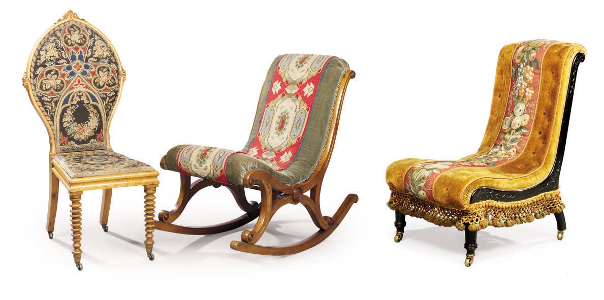THREE MID-VICTORIAN CHAIRS