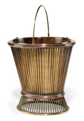 A BRASS AND COPPER BUCKET