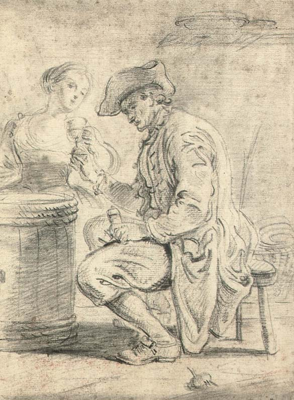 A man in a tavern, accompanied by a young woman