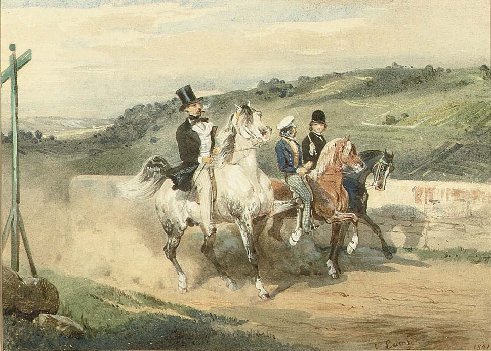 Horace Vernet out riding with his children