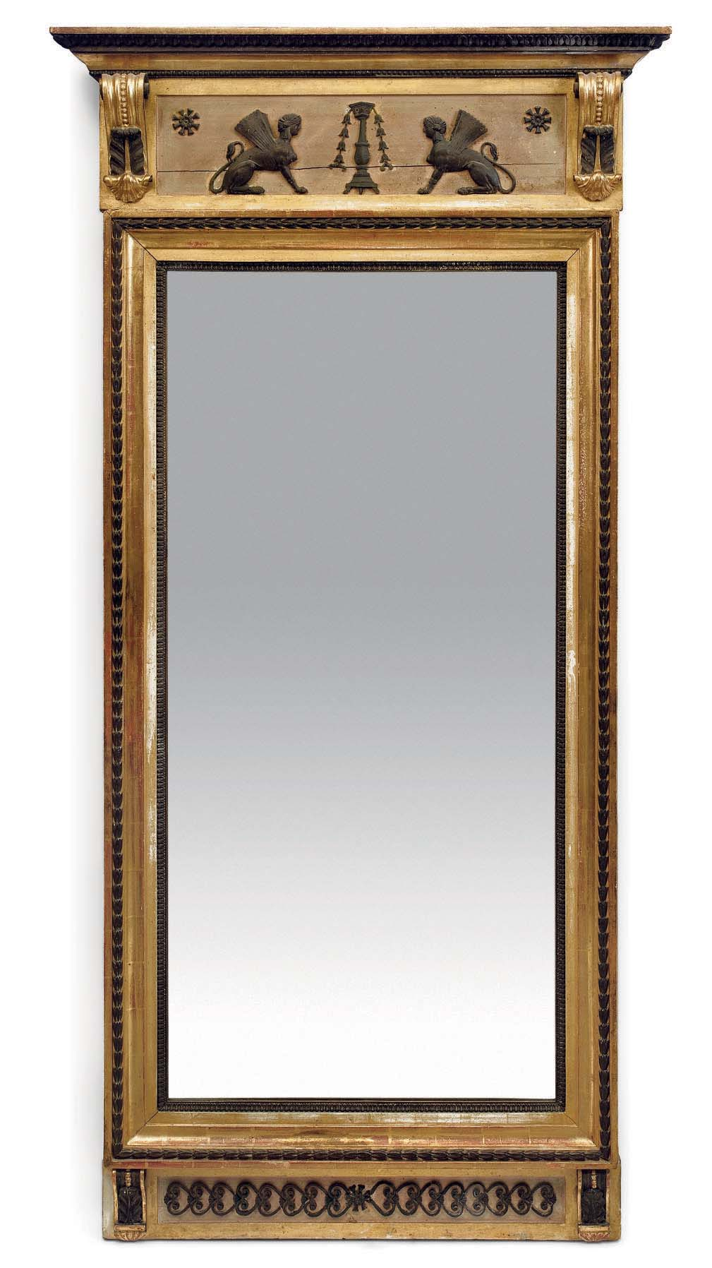 A SWEDISH BRONZED AND GILTWOOD MIRROR