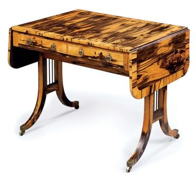 A REGENCY CALAMANDER SOFA-TABL