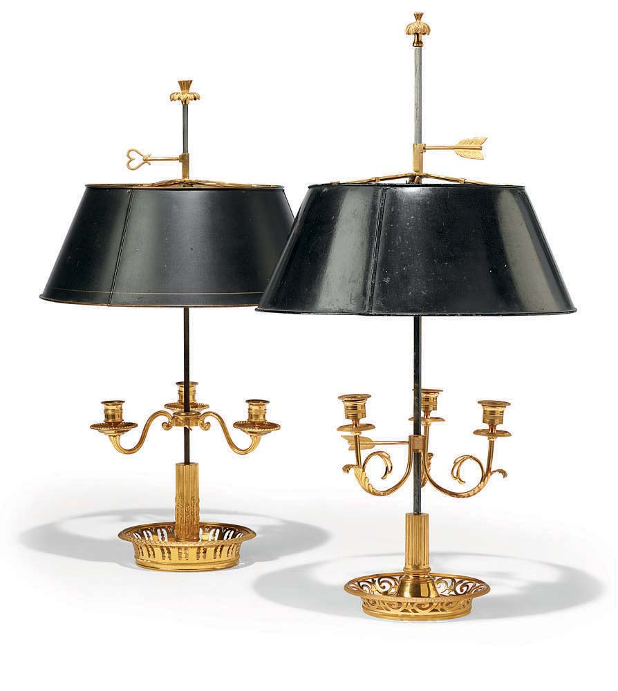 TWO FRENCH ORMOLU AND DARK GRE