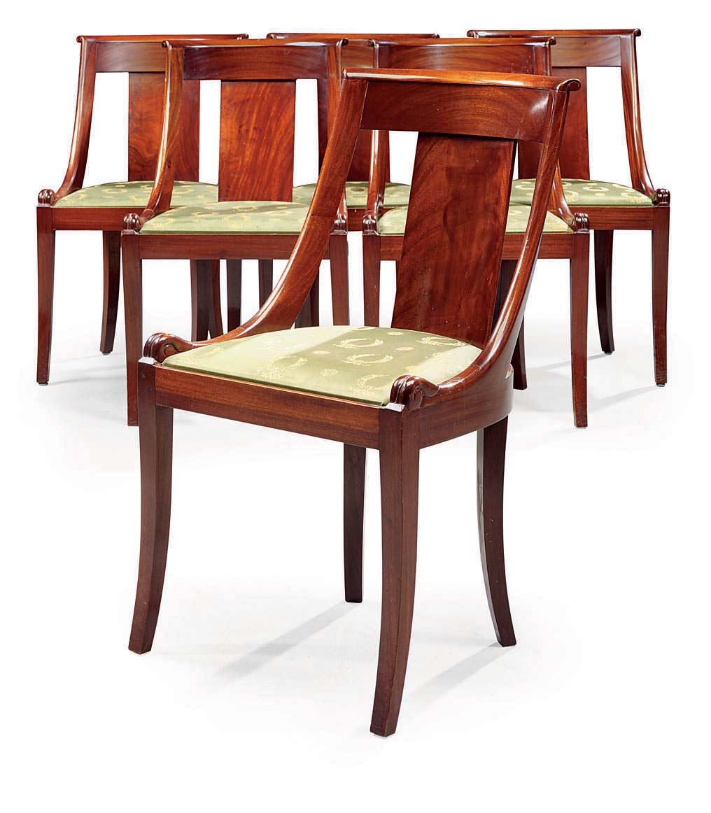 A SUITE OF SIX FRENCH MAHOGANY