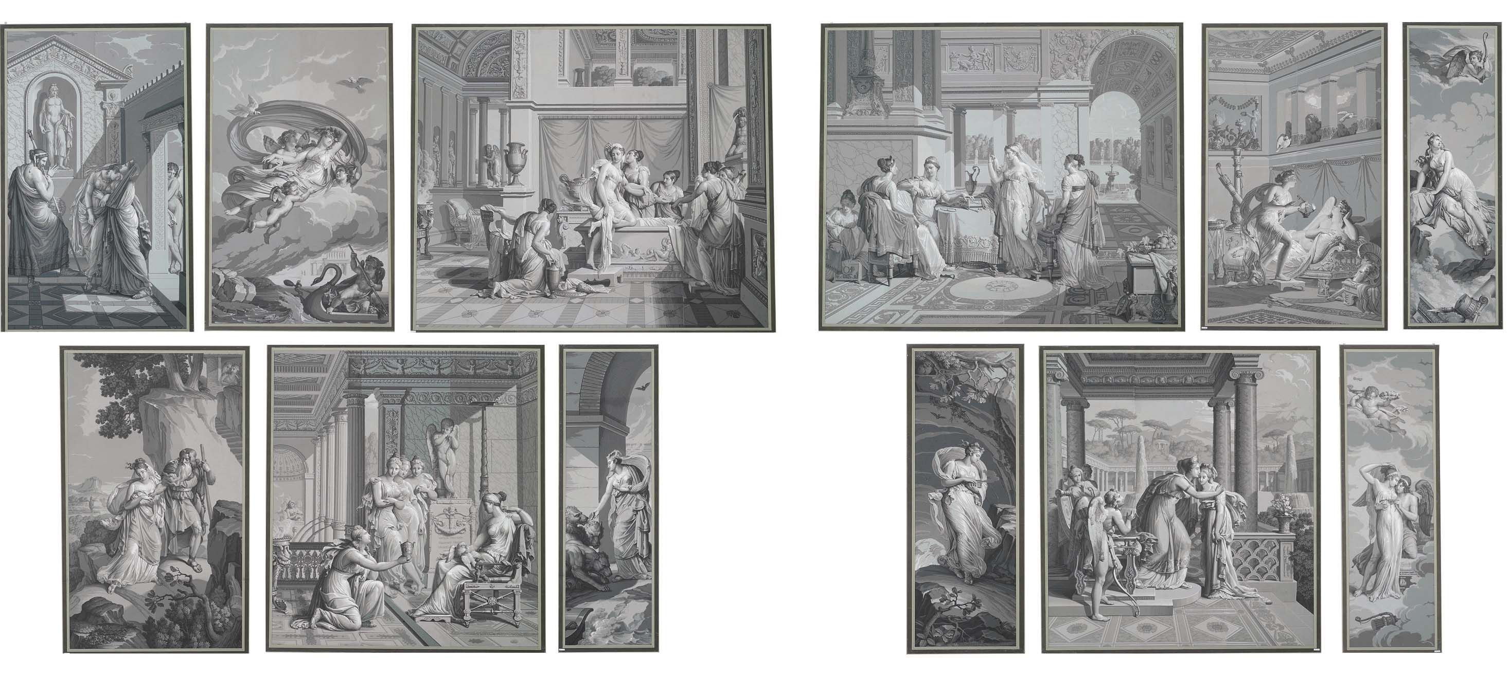 A SET OF TWELVE FRENCH GRISAIL