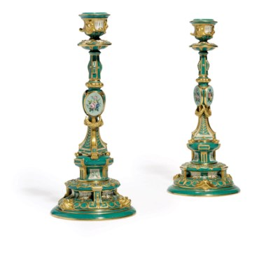 A Pair Of Porcelain Candlestic
