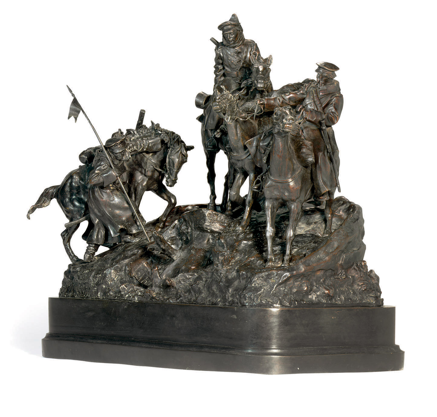 A Bronze Group Of The Crossing Of The Balkans