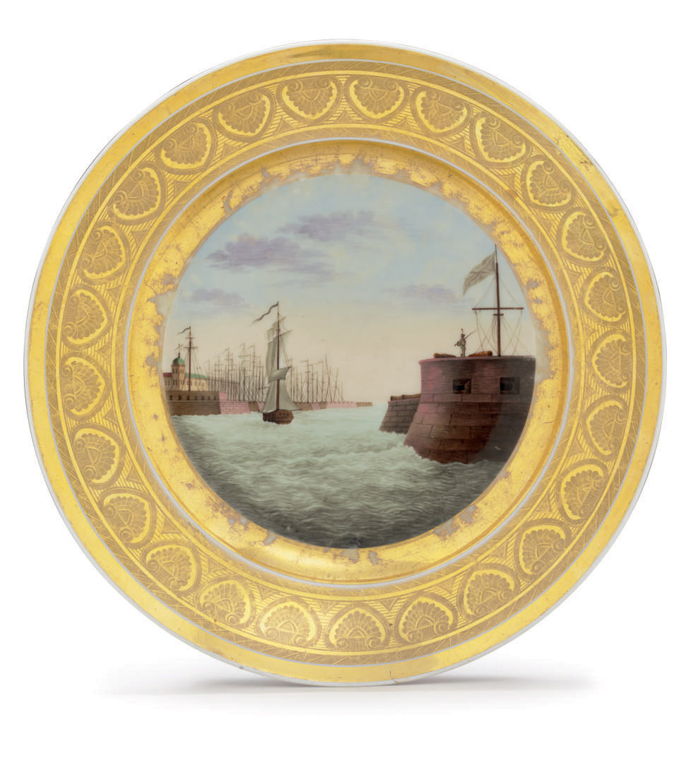 A Porcelain Plate Depicting The St Petersburg Harbour