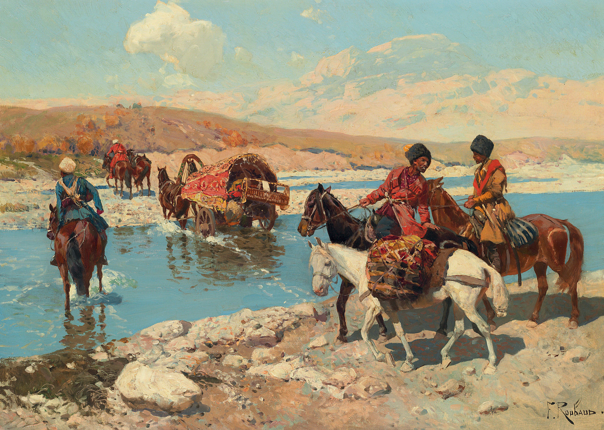 Cherkesses crossing a river