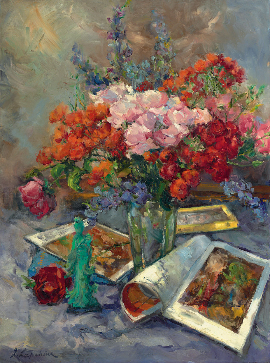 Still life with roses and Chinese figure
