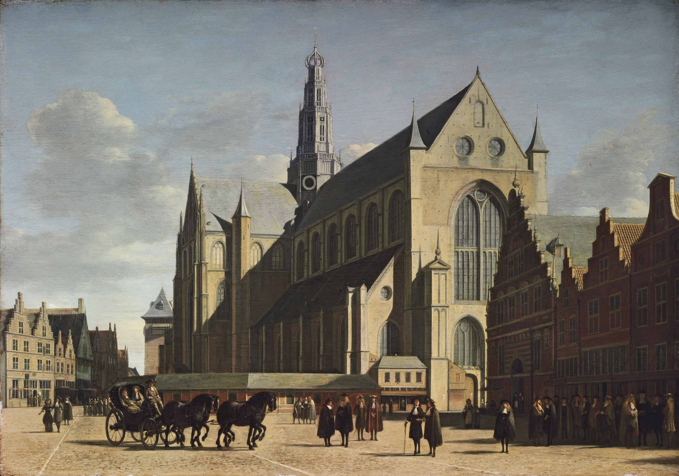 The Grote Markt, Haarlem, looking south-east, with Saint Bavo's Cathedral