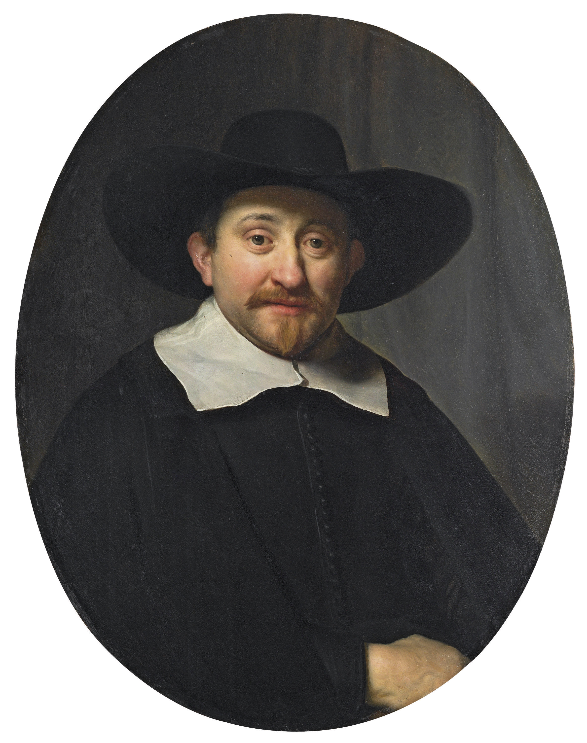 Portrait of a man, half-length, in a broad-brimmed hat