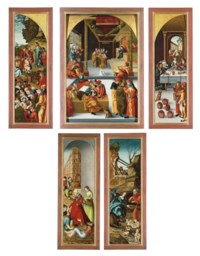 A triptych: the central panel: Christ among the Doctors; the wings: The Multiplication of the Loaves and Fishes; and The Marriage at Cana; the outer faces: Saint Elizabeth of Thuringia giving Alms; and The Nativity