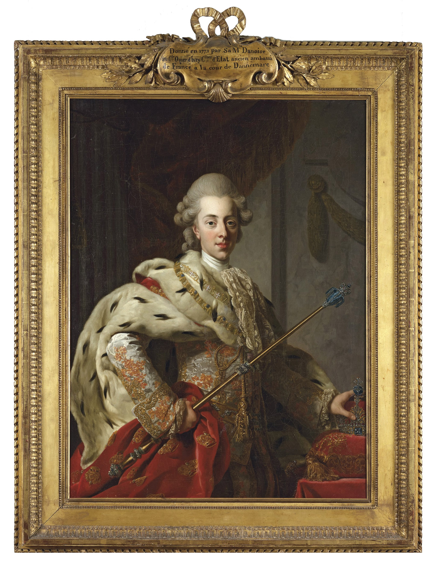 Portrait of King Christian VII of Denmark, half-length, in coronation robes and holding a crown and sceptre