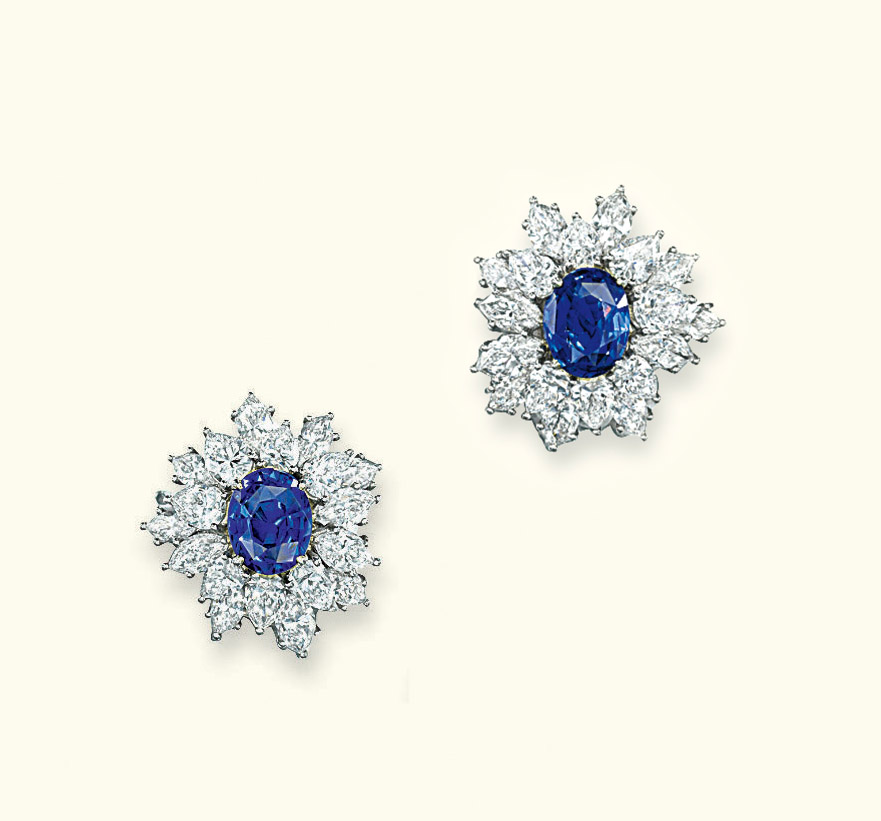 A PAIR OF SAPPHIRE AND DIAMOND EAR CLIPS, BY TIFFANY & CO