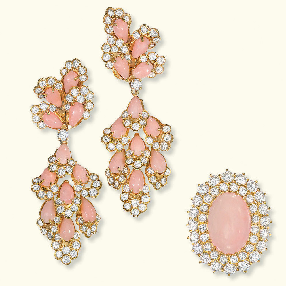 A PAIR OF CORAL AND DIAMOND EAR PENDANTS, BY VOURAKIS AND A RING