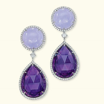 A PAIR OF JADEITE AND AMETHYST