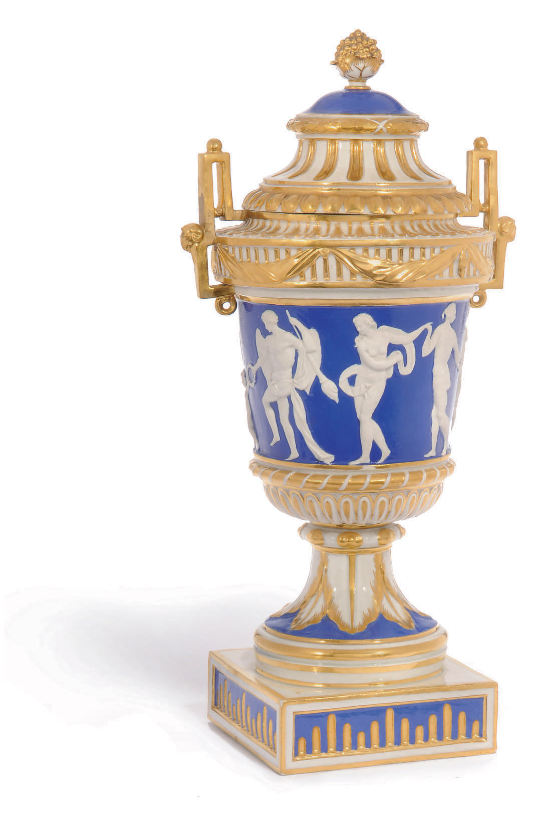 A LUDWIGSBURG BLUE-GROUND NEO-CLASSICAL VASE AND COVER