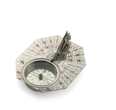 A FRENCH SILVER SUNDIAL-COMPAS
