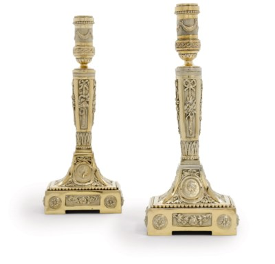 A PAIR OF BELGIAN SILVER-GILT